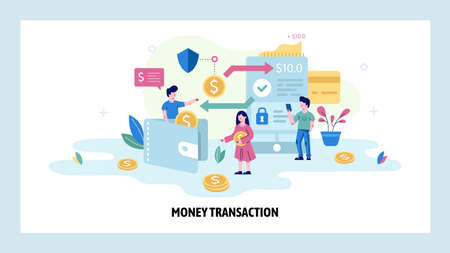 Secure money transaction concept illustration. Mobile app to digital wallet money transfer. Vector web site design template. Cashback, bank pay, financial management Stock fotó - 151426027