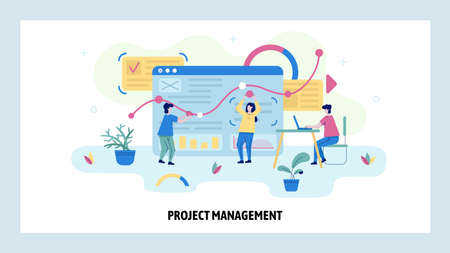 Project management and business analytics concept illustration. Team work with the dashboard. Financial analysis. Vector web site design template Ilustración de vector