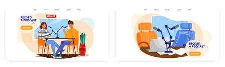 Live streaming, broadcast. Podcast concept illustration. Vector web site design template. Blogger online interview in studio