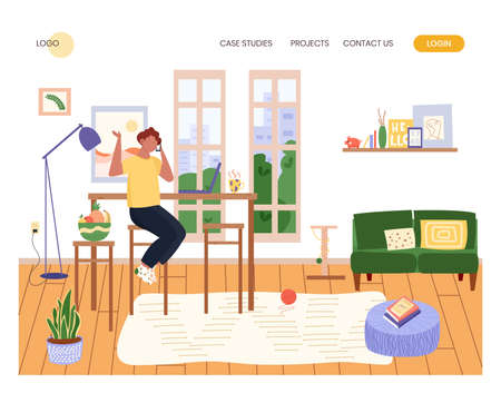 Man talk by mobile phone and work with laptop in cozy interior. Home office concept illustration. Vector web site design template. Man working at home