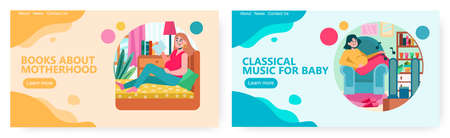Pregnant woman reading book about motherhood. Pregnant girl listening classical music for unborn baby. Pregnancy concept illustration. Vector web site design template