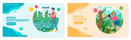 Man controls drone and takes aerial photo in a park. Woman taking photo on a bird on a tree. Birdswatching concept illustration. Vector web site design template