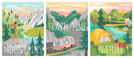 Travel posters. Vector set of adventure, camping and weekend vacation banners. Mountain hiking, road travel, camping in a forest, nature landscape. Man standing on mountain top and looking on valley