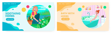 Woman picking up flowers on a field. Herbs cosmetic and spa concept illustration. Vector web site design template. Woman taking a bath with herbs and flowers 矢量图像