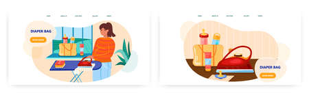 Woman ironing newborn baby clothes. Baby care concept illustration. Vector web site design template. Diaper bag with milk bottles Vektorgrafik