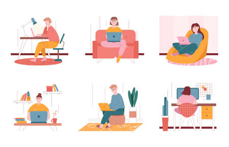 Man and woman characters working with laptop at home. Vector illustration set of freelance people work with computer in comfortable conditions at home. Office desk, couch, chair as a workplace