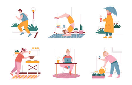 Man and woman characters in daily routine situations. Vector illustration set of people everyday leisure and work activities. Exercise and yoga at home, work with laptop, cooking at kitchen, running