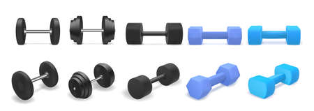 Vector set of dumbbells isolated on white background. Realistic 3d objects for gym or fitness. Blue and black dumbbell Illustration
