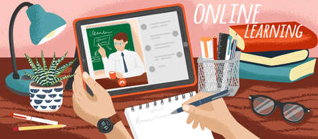 Student watching school lectures online and making notes. Distance education and online learning concept vector illustration. Study school course at home. Video call with teacher or private tutor Illustration