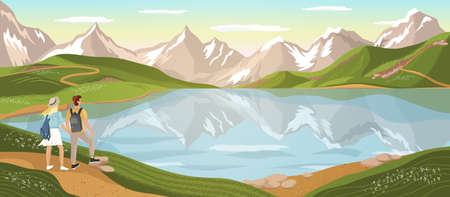 Couple of tourists look at the mountain lake. Travel and outdoor adventure vector concept illustration. Nature landscape poster. Happy man and woman hikers enjoy view over mountain lake Çizim