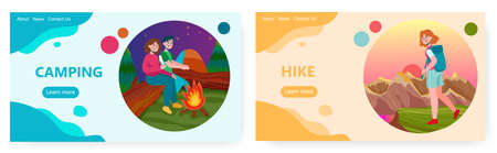 Couple sit next to campfire in forest. Hike and outdoor sport activity vector concept illustration. Girl hiking with backpack in mountains. Web site design template 向量圖像