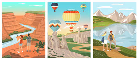 Outdoor landscapes with backpacking couple. Man and woman travel around the world famous nature landmarks. Vector set illustrations. Mountain lake, Grand Canyon, air ballons over Cappadocia in Turkey