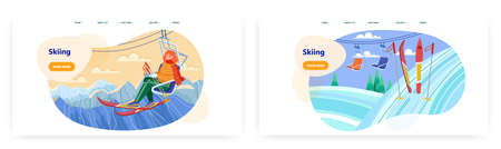 Woman with ski sit on chairlift. Winter holiday on mountain ski resort vector concept illustration. Skiing sport. Snow mountain winter landscape. Web site design template 向量圖像