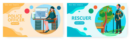 Female police detective in uniform. Woman police officer. Rescue vector concept illustration. Firefighter come to rescue a kite. Web site design template
