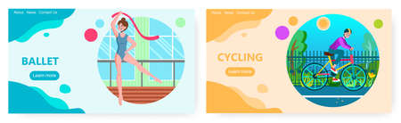 Ballet dancer exercises in the studio. Ballet dance and cycling sport vector concept illustrations. Ballerina or gymnast with ribbon. Man rides bicycle in a park. Web site design template