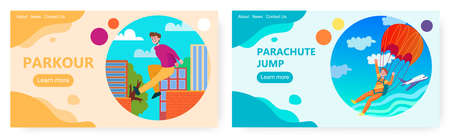 Man jump with parachute from the plane. Urban parkour and sky diving. Extreme sport vector concept illustration. Web site design template