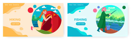 Woman set up tent. Girl fishing in a river. Outdoor travel and camping vector concept illustration. Female fisher catch a fish. Web site design template