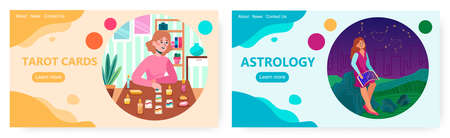 Tarot reader or fortune teller reading and forecasting future using tarot card. Astrology vector concept illustration. Woman watching night stars using sky map. Web site design template