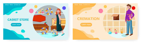 Woman is choosing a coffin or casket for a funeral. Cremation concept vector illustration. Man put urn with ash to columbarium.