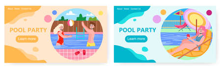 Summer pool party vector concept illustration. People enjoy vacation and drink beer by swimming pool. Young woman and man dance and swim Ilustração