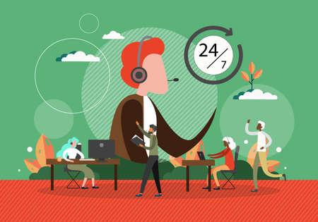 Call center concept vector illustration. Customer service people at work in office. Helpdesk and support phone line operator. Man with headset talk by phone. Call center team Illusztráció