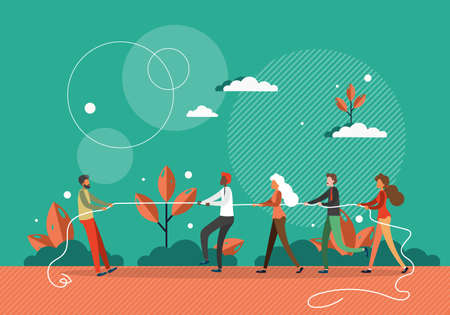 One against all concept vector illustration. One man pulls rope against many people. Competition and leadership in business. Man stand out from crowd. Tug of war competition