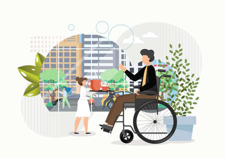 Disabled man on a wheelchair orders coffee in cafe. Accessible environment concept vector illustration. Handicapped man watching city life from window in cafe