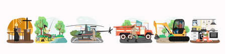 Non-traditional professions for woman concept vector illustration. Different female career, priest in church, fisherwoman, pilot, firefighter, excavator operator, plumber