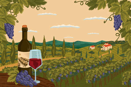 Vineyard landscape with grape tree field and winery farm on background. Red wine bottle with glass. Hand draw vector illustration poster