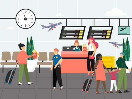 Passengers in airport lounge area concept vector. People in airport terminal waiting for a flight, check-in. Travel by flight illustration