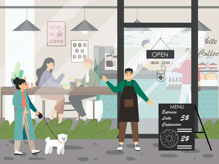 Woman with a dog walks by cafe with glass door. People drink coffee in restaurant, concept vector illustration. Cafe owner greets customers in front of his shop