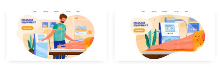 Massage equipment landing page design, website banner vector template set. Hardware body massage therapy.
