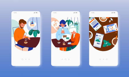 Problem of live communication with friends. Social media addiction. Mobile app screens, vector website banner template.