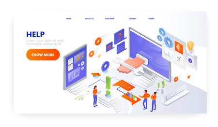 Help landing page design, website banner vector template. Technical assistance, customer support, computer service. Vetores