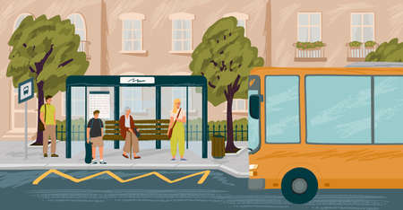 People waiting in queue on bus stop vector illustration. Bus arriving to station. Urban transport concept. City sidewalk