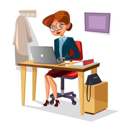 Businesswoman in office vector illustration of cartoon woman manager working on laptop at table. Woman boss confident in glasses and business suit typing with coffee and purse on office desk