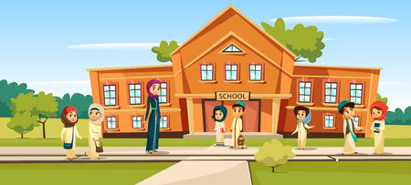 Muslim school vector illustration cartoon children and teacher going to school. Woman teacher and pupils kids in traditional Arabian Islamic clothes and schoolbags at schoolyard Vectores