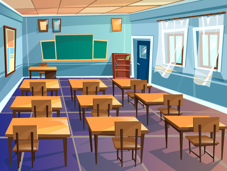 School classroom interior vector cartoon illustration. University schoolroom design with view on blackboard, student chairs and teacher table, door and windows for school education interior background Vectores