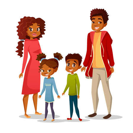 Afro American black family in casual clothing vector cartoon flat illustration. Happy father and mother parents, boy and girl children teens characters of African American nationality