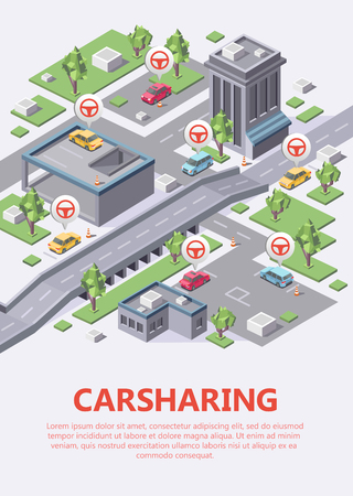 Isometric carsharing city map vector illustration 3D for car sharing or carpool service location or parking lots navigation. Isometric flat design of city plan with car renting parking location. Çizim
