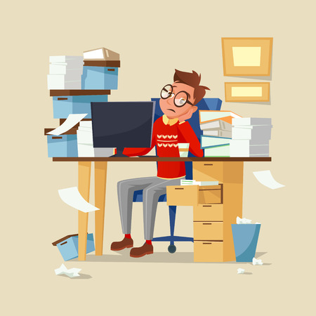 Office manager work routine vector illustration. Tired frustrated man in glasses sitting on chair at office table full of documents working in computer and drinking coffee and leaning head on hand