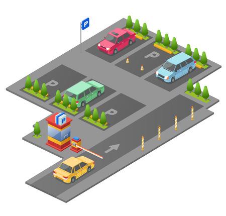 Ilustración de vector 3D isométrica de estacionamiento para diseño de construcción. Sección aislada de estacionamiento al aire libre y barrera de control de punto de control con parkomat y flechas de dirección marcadas