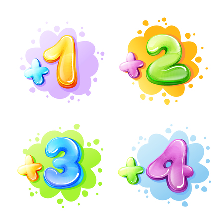 Vector cartoon kids age limit sign set. Children restriction stamps, adhesive stickers for movie, game, app content. Isolated illustration with one, two three four add, plus colored symbols