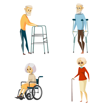 Vector cartoon disabled senior characters with restriction of movement using medical equipment set. Grey-haired old woman sitting in wheelchair, female character with cane, men using crutches, walker