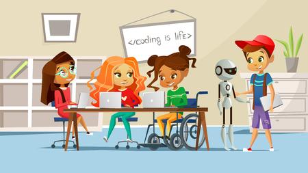 Niños en la ilustración de vector de escuela de niños alumnos en clase estudiando la lección. Niño con robot y niñas en la mesa con computadoras hablando con un amigo discapacitado en diseño de dibujos animados de silla de ruedas Ilustración de vector