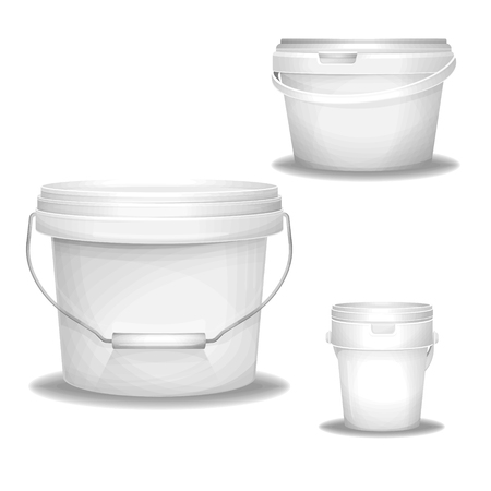 Plastic white buckets vector illustration 3d realistic paint bucket. Isolated blank mockup models, industrial plastic containers packaging with lid and handles for painting, putty or primers and food