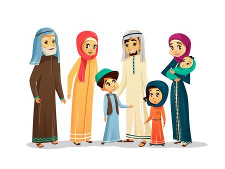 Vector cartoon arab family characters set. Stock Illustratie