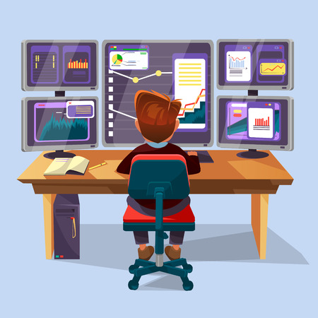 Vector cartoon male trader, financial, data analyst character sitting monitoring graph diagram. Business man, stock currency exchange market research concept