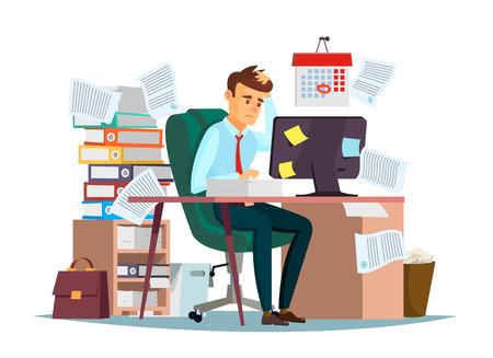 Responsabile che si siede allo scrittorio del computer con la pila di documenti nelle note appiccicose di compiti di scadenza e di disordine che tengono la mano sulla progettazione piana piana dell'ufficio del fumetto Archivio Fotografico