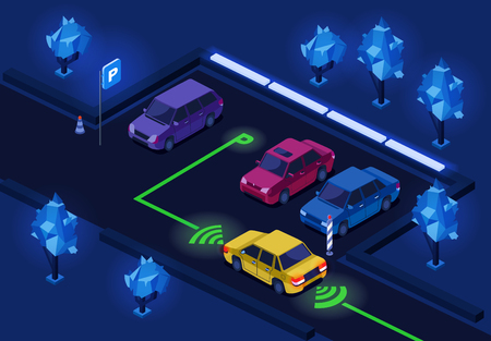 Parking lot isometric 3D vector illustration of night city car parking with illumination technology. Isometric cars on outdoor parking with smart navigation light control and direction marking